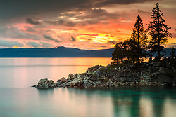 """Secret Cove Sunset 5"" - Sunset photograph of a rocky point at Secret Cove, Lake Tahoe."