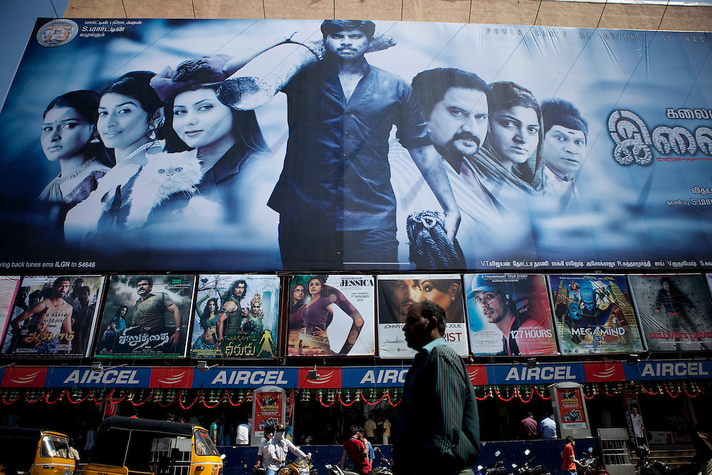 A huge movie poster is seen outside a multiplex theater in Chennai, India, on Saturday  January 15, 2011. Photographer: Prashanth Vishwanathan/HELSINGIN SANOMAT