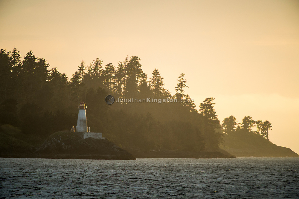 Lighthouse at sunset on Lucy Island, British Columbia, Canada.