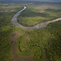 A river wends it way toward the Caribbean sea, Guatemala