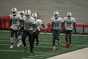 Miami Dolphins wide receivers Kenny Stills (10) Preston Williams (82) Albert Wilson (15) Allen Hurns (86) and Brice Butler (17) warm up at indoor practice during training camp at the Baptist Health Training Facility at Nova Southeastern University, Friday, August 2, 2019, in Davie, Fla. (Kim Hukari/Image of Sport)