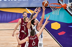 Janis Timma of Latvia vs Gasper Vidmar of Slovenia during basketball match between National Teams of Slovenia and Latvia at Day 13 in Round of 16 of the FIBA EuroBasket 2017 at Sinan Erdem Dome in Istanbul, Turkey on September 12, 2017. Photo by Vid Ponikvar / Sportida