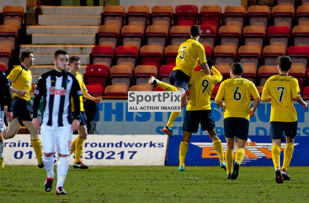 Dunfermline Athletic v Falkirk Irn Bru First Division East End Park 27 March 2013.Lyle Taylor scores..(c) Craig Brown | StockPix.eu
