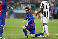 11.04.2017 - Torino  -  Quarti di finale  Champions League , Nella foto:  Lionel Messi a terra deluso