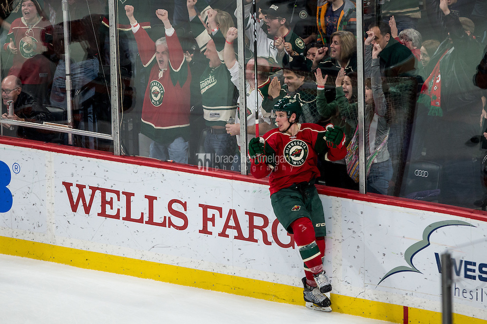 Dec 29, 2016; Saint Paul, MN, USA; Minnesota Wild forward Erik Haula (56) celebrates his goal during the third period against the New York Islanders at Xcel Energy Center. The Wild defeated the Islanders 6-4. Mandatory Credit: Brace Hemmelgarn-USA TODAY Sports