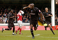 Photo: Glyn Thomas.<br />Rotherham United v Brentford. Coca Cola League 1. 15/04/2006.<br />Brentford's Lloyd Owusu celebrates his equaliser.