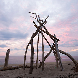 A driftwood sculpture at dawn on the Cape Cod National Seashore.  Head of the Meadow Beach, Truro, Massachusetts.