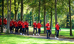CARDIFF, WALES - Monday, October 9, 2017: Wales players during a pre-match walk at the Vale Resort ahead of the 2018 FIFA World Cup Qualifying Group D match between Wales and Republic of Ireland. James Chester, captain Ashley Williams, Chris Gunter, Aaron Ramsey, Sam Vokes and Andy King (Pic by David Rawcliffe/Propaganda)