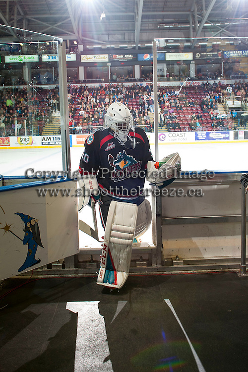 KELOWNA, CANADA - OCTOBER 26: Michael Herringer #30 of the Kelowna Rockets exits the ice at the end of second period against the Victoria Royals on October 26, 2016 at Prospera Place in Kelowna, British Columbia, Canada.  (Photo by Marissa Baecker/Shoot the Breeze)  *** Local Caption ***