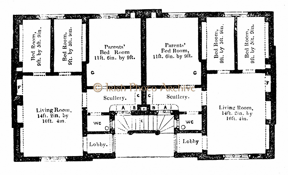 Ground plan of Prince Albert's model dwellings for the labouring classes, designed for four families, each family occupying a flat. Hollow brick construction. Illustration published 1851. A number of these buildings were constructed.