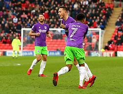 Josh Brownhill of Bristol City celebrates with teammates after scoring a goal to make it 2-2 - Mandatory by-line: Robbie Stephenson/JMP - 30/03/2018 - FOOTBALL - Oakwell Stadium - Barnsley, England - Barnsley v Bristol City - Sky Bet Championship