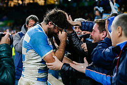 A dejected Argentina Flanker Juan Martin Fernandez Lobbe spends a moment with fans in the stands after Australia win the match 15-29 - Mandatory byline: Rogan Thomson/JMP - 07966 386802 - 25/10/2015 - RUGBY UNION - Twickenham Stadium - London, England - Argentina v Australia - Rugby World Cup 2015 Semi Finals.