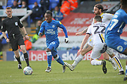 Peterborough midfielder Siriki Dembélé (10) shapes up to shoot during the EFL Sky Bet League 1 match between Peterborough United and Burton Albion at London Road, Peterborough, England on 4 May 2019.