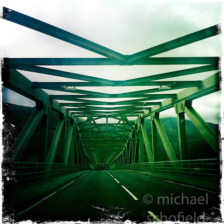 Ballachulish bridge..Hipstamatic images taken on an Apple iPhone..©Michael Schofield.