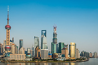 Shanghai, China - April 7, 2013: pudong discrict skyline at the city of Shanghai in China on april 7th, 2013