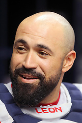 May 22, 2018 - St. Petersburg, FL, U.S. - ST. PETERSBURG, FL - MAY 22: Sandy Leon (3) of the Red Sox talks with a teammate during the MLB regular season game between the Boston Red Sox and the Tampa Bay Rays on May 22, 2018, at Tropicana Field in St. Petersburg, FL. (Photo by Cliff Welch/Icon Sportswire) (Credit Image: © Cliff Welch/Icon SMI via ZUMA Press)