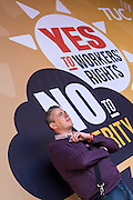 Mark Serwotka waiting to speak at the TUC demo at the Conservative party conference, Manchester. 4th October 2015