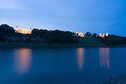 Elbe, Elbschloesser bei Daemmerung, Dresden, Sachsen, Deutschland.|.Dresden, Germany, river Elbe, Elbe Castles at dusk