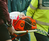 Photo: Aidan Ellis.<br /> Barnsley v Derby County. Coca Cola Championship. 31/03/2007.<br /> Barnsley keeper David Lucas recieves oxygen after being knocked unconcious