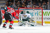 KELOWNA, BC - SEPTEMBER 28:  Leif Mattson #28 of the Kelowna Rockets takes a shot on Dustin Wolf #32 of the Everett Silvertips during second period at Prospera Place on September 28, 2019 in Kelowna, Canada. (Photo by Marissa Baecker/Shoot the Breeze)