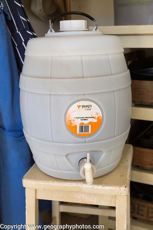 Plastic pressure barrel for home brew beer Woodforde's Wherry real ale kit, England, UK
