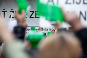 Czech President Milos Zeman speaking during an anti-Islam rally in Prague and supporters of him showing green cards. Czech Republic celebrates that day the 26th anniversary of the Velvet Revolution which took place in 1989.