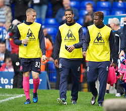 BIRMINGHAM, ENGLAND - Saturday, October 2, 2010: Everton's substitutes Ross Barkley, Jermaine Beckford and Magaye Gueye before the Premiership match against Birmingham City at St Andrews. (Photo by David Rawcliffe/Propaganda)