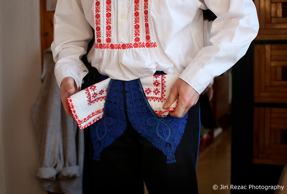 CZECH REPUBLIC MORAVIA BANOV 2APR18 - Detail of traditional Moravian dress worn during Easter celebrations by folklore musicians  as  they wander on their round through the village of Banov, Moravia. <br /> <br /> jre/Photo by Jiri Rezac<br /> <br /> © Jiri Rezac 2017