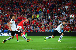 Aaron Ramsey of Wales takes a shot at goal - Mandatory by-line: Dougie Allward/JMP - 02/09/2017 - FOOTBALL - Cardiff City Stadium - Cardiff, Wales - Wales v Austria - FIFA World Cup Qualifier 2018