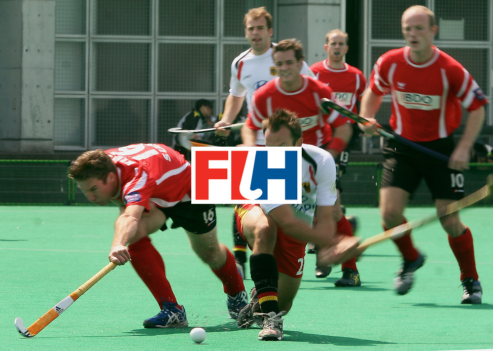 Kakamigahara, Gifu-Japan : Witthaus Mathias of Germany all set to score one of his two goals against Switzerland in the Olympic Hockey Qualifier at Gifu Perfectural Green Stadium at Kakamigahara on 06 April 2008. Germany beat Switzerland 10-0. <br /> Photo: GNN/ Vino John