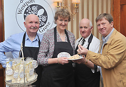 Sean and Anne Casey from Westport Grove with Charlie Mulchrone from Kellys of Newport and Brendan Geraghty enjoying the Neven Maguire cookery demonstration in aid of the Aoife Beary fund at Hotel Westport. Pic Conor McKeown