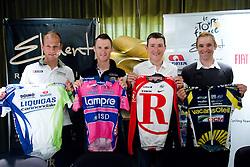 Slovenian riders Kristijan Koren of Liquigas, Grega Bole of Lampre, Jani Brajkovic of Team RadioShack and Borut Bozic of Vacansoleil at press conference before cycling race Tour de France 2011, on June 27, 2011, in Crnuce, Ljubljana, Slovenia. (Photo by Vid Ponikvar / Sportida)