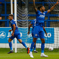 Eastleighs forward Ben Williamson wheels away after putting the visitors a goal up in the 18th minutes during the National League match between Dover Athletic FC and Eastleigh FC at Crabble Stadium, Kent on 25 August 2018. Photo by Matt Bristow.