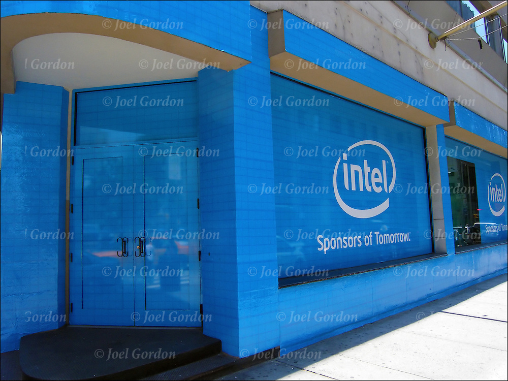 Graphic and bold billboard is for Intel.<br />