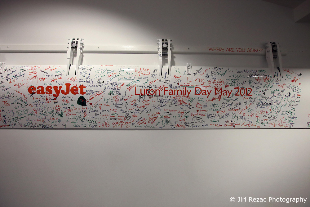 UK ENGLAND LUTON 12FEB14 - Luton Family day signature wall at Easyjet company's headquarters in Luton, England.<br /><br /> <br /> <br /> <br /> jre/Photo by Jiri Rezac<br /> <br /> <br /> <br /> © Jiri Rezac 2014