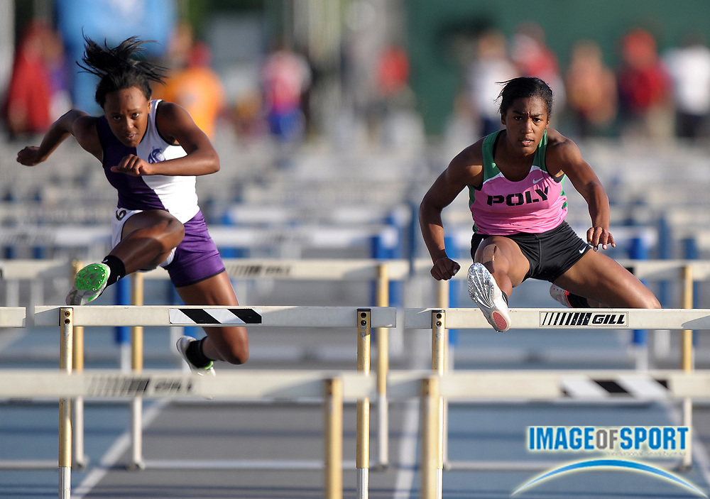 May 25, 2012; Norwalk, CA, USA; Traci Hicks of Long Beach Poly (right) defeats Jordie Mumford of Rancho Cucamonga to win the girls 100m hurdles, 13.66 to 13.80, in the 2012 CIF Southern Section Masters Meet at Cerritos College.