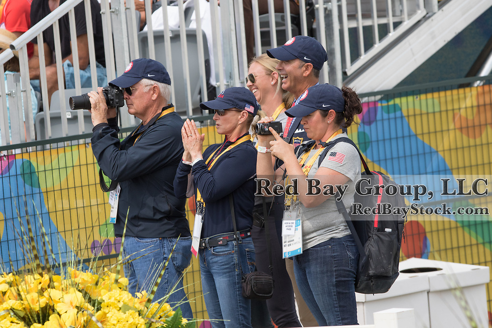 Team USA watching Sabina Schut-Kery (USA) and Sanceo at the OLG Caledon Pan Am Equestrian Park during the Toronto 2015 Pan American Games in Caledon, Ontario, Canada.