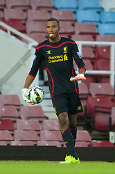 UPTON PARK, ENGLAND - Friday, September 12, 2014: Liverpool's goalkeeper Lawrence Vigouroux in action against West Ham United during the Under 21 FA Premier League match at Upton Park. (Pic by David Rawcliffe/Propaganda)
