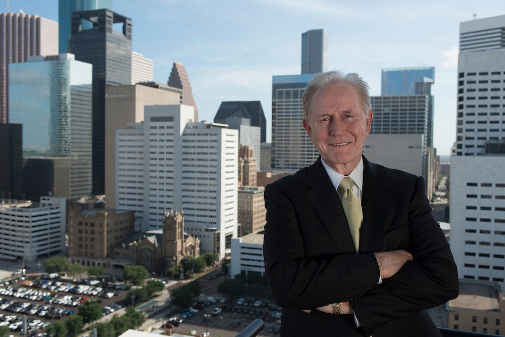 Portrait of Larry Hill, Sumar, for ABODE Magazine HAA 2013 Hall of Fame Cover and article. Photograph is of Hill as made from the 25th floor of the Houston House Apartments on Fannin in Downtown Houston.