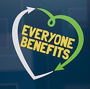 Everyone Benefits, East of England Co-operative Society shop advertising sign logo, Woodbridge, Suffolk, UK