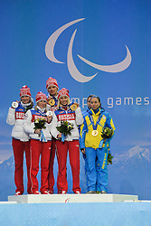 Men's and Women's 12.5/10km Nordic Skiing Medal Ceremony at the 2014 Sochi Winter Paralympic Games, Russia