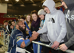 Bristol Rugby replacement Jamal Ford-Robinson greets fans after the game - Mandatory byline: Dougie Allward/JMP - 22/01/2016 - RUGBY - Ashton Gate -Bristol,England - Bristol Rugby v Ulster Rugby - B&I Cup