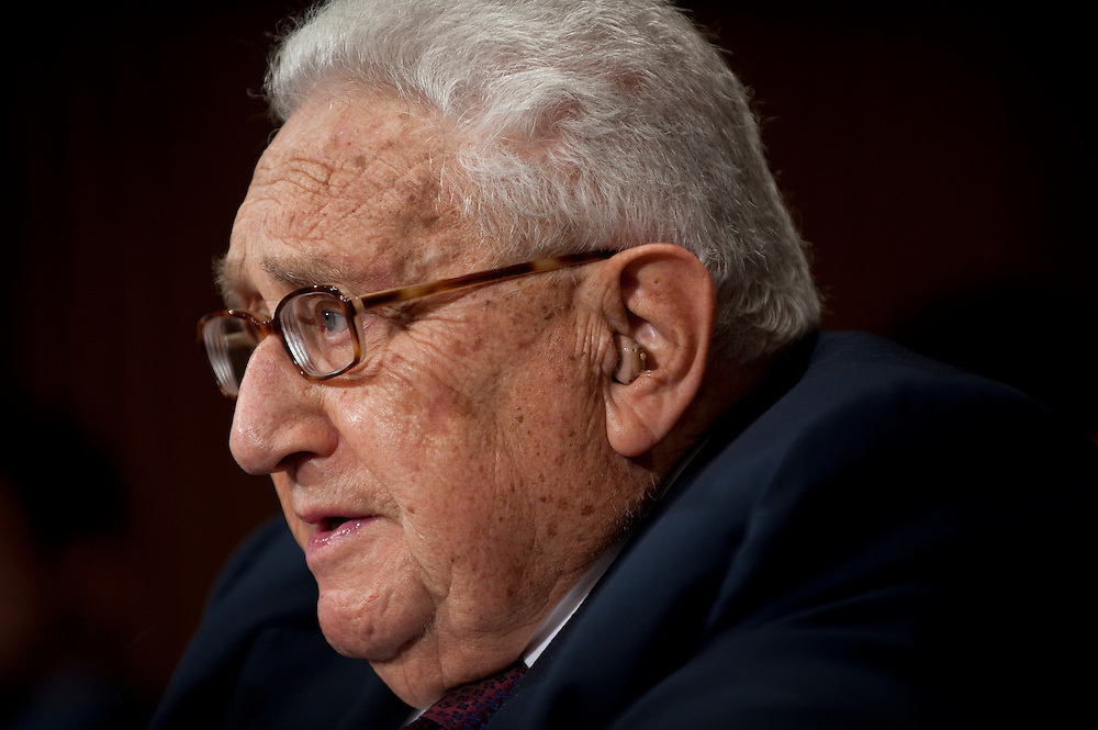 "May 25, 2010 - Washington, District of Columbia, U.S., - Former Secretary of State Henry Kissinger testifies before the Senate Foreign Relations Committee on ""The Role of Strategic Arms Control in a Post-Cold War World,"" focusing the U.S.-Russia Strategic Arms Reduction Treaty..(Credit Image: © Pete Marovich/ZUMA Press)"