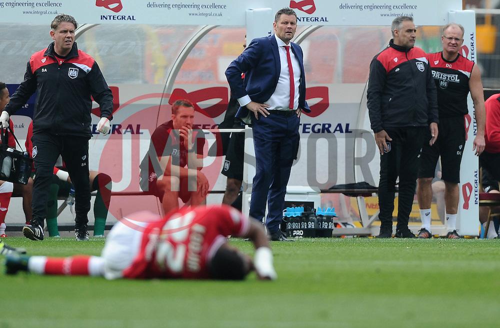 Bristol City manager, Steve Cotterill looks on as Jonathan Kodjia of Bristol City lies injured  - Mandatory byline: Joe Meredith/JMP - 07966 386802 - 03/10/2015 - FOOTBALL - Ashton Gate - Bristol, England - Bristol City v MK Dons - Sky Bet Championship