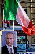 """Roma 3 Ottobre 2015<br /> Manifestazione a sostegno del Presidente russo Putin, a  Piazzale Flaminio,  """"Io sto con Putin"""" , per sconfiggere il terrorismo islamico, per fermare la crisi migratoria, per ritrovare la sovranità"""". I manifestanti chiedono anche l'immediata rimozione delle sanzioni alla Russia. La manifestazione è organizzata dal Comitato Italia-Russia e dal Vladimir Putin Italian Fan Club.<br /> Rome, October 3, 2015<br /> Rally in support of Russian President Putin, Piazzale Flaminio, """"I'm with Putin"""", to defeat Islamic terrorism, to stop the migration crisis, to regain sovereignty.The protesters are also demanding the immediate removal of sanctions on Russia.The event is organized by the committee Italy-Russia,  and  from Vladimir Putin the Italian Fan Club."""