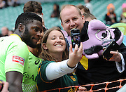 LONDON, ENGLAND - Sunday 11 May 2014, Jamba Ulenga of South Africa poses for a &quot;selfie&quot; during the Plate final match between South Africa and Kenya at the Marriott London Sevens rugby tournament being held at Twickenham Rugby Stadium in London as part of the HSBC Sevens World Series.<br /> Photo by Roger Sedres/ImageSA