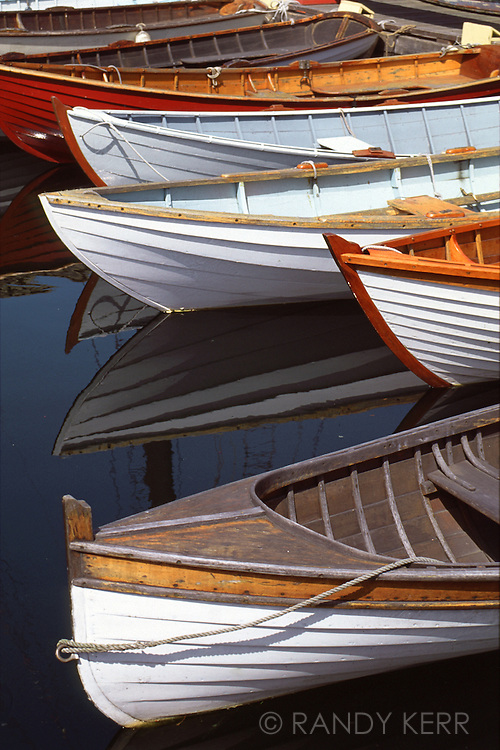 Vintage wooden rowboats on Lake Union, Seattle, WA.