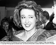 Lady Rose Cecil at an exhibition of her paintings at the Parkin Gallery. London. 1/2/88. Film 8845f29<br />© Copyright Photograph by Dafydd Jones<br />66 Stockwell Park Rd. London SW9 0DA<br />Tel 0171 733 0108