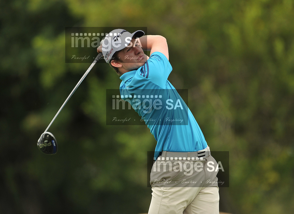 MALELANE, SOUTH AFRICA - Wednesday 18 February 2015, Conner Syme of Scotland tees off on the 9th during the first round foursomes of the annual Leopard Trophy, a two day test between teams of the South African Golf Association and the Scottish Golf Union, at the Leopard Creek Golf Estate.<br /> Photo Roger Sedres/ Image SA