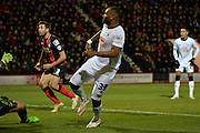 Darren Bent scores during the Sky Bet Championship match between Bournemouth and Derby County at the Goldsands Stadium, Bournemouth, England on 10 February 2015. Photo by Adam Rivers.